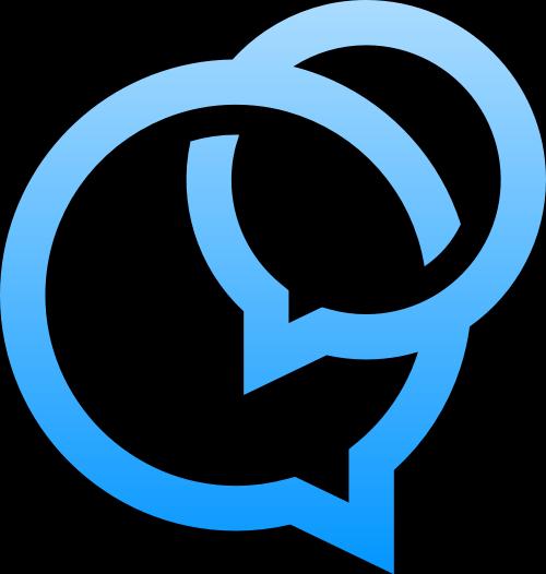 蓝色消息框矢量logo图标