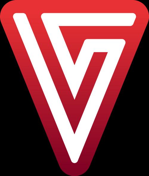 红色倒三角字母VS矢量logo图标