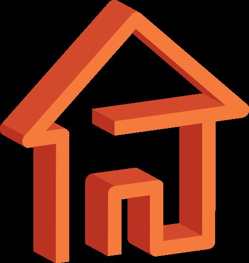 橙色房子矢量logo图标矢量logo