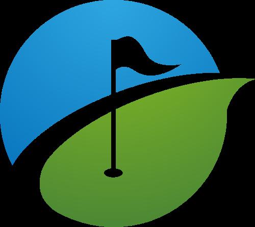 蓝色绿色高尔夫旗帜矢量logo图标矢量logo