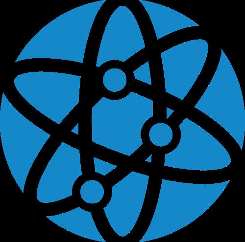 蓝色球体环绕轨道矢量logo图标