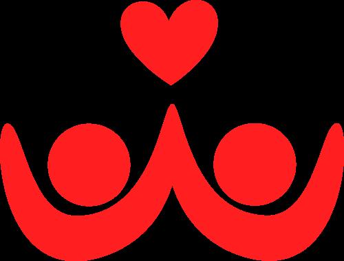 红色双人爱心矢量logo图标矢量logo