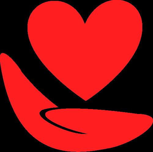 红色手爱心组织矢量logo图标矢量logo