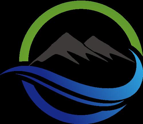 彩色山峰水矢量logo图标