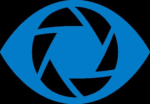 蓝色眼睛相机矢量logo图标