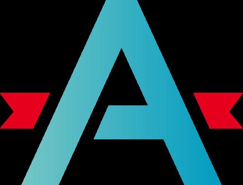 蓝色字母A红色装饰矢量logo图标