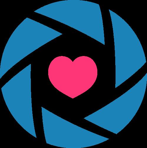 蓝色摄像红心矢量logo图标