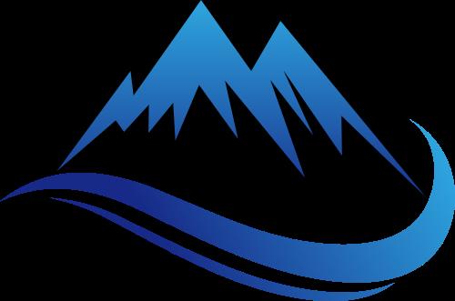 蓝色山峰水矢量logo图标