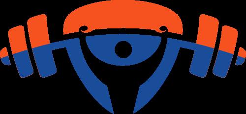 橙色蓝色人物举重矢量logo图标矢量logo