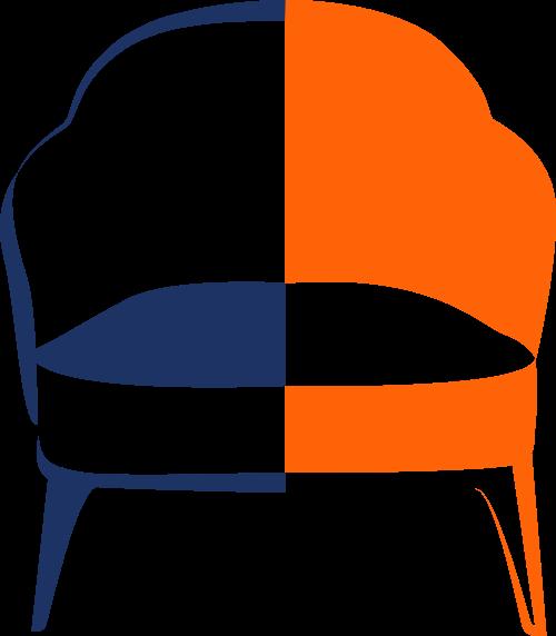 橙色蓝色家具矢量logo图标矢量logo