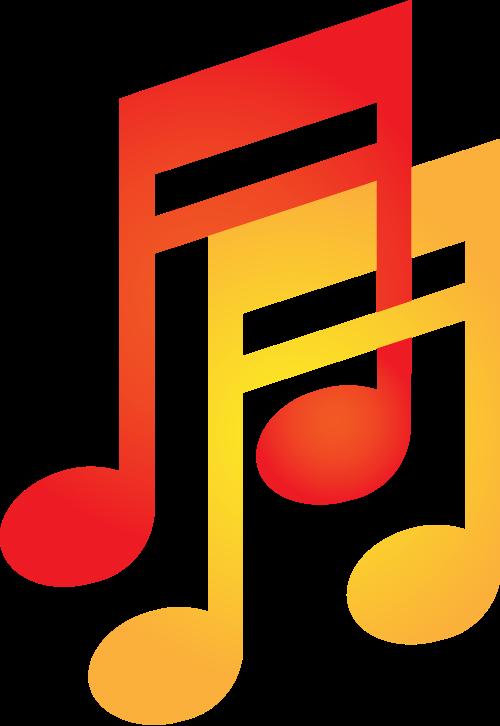 红色黄色音符矢量logo图标