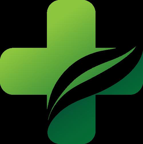 绿色十字叶子矢量logo图标矢量logo