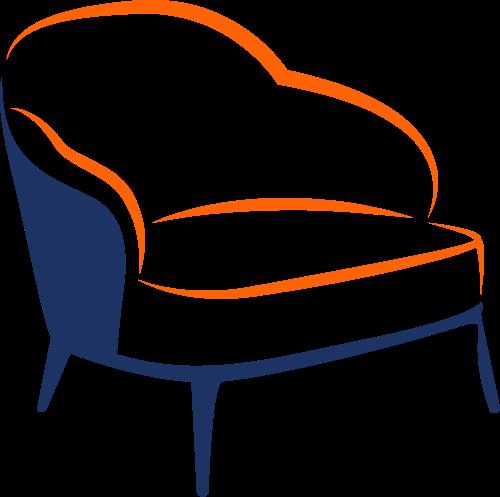 橙色蓝色沙发矢量logo图标矢量logo