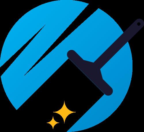 蓝色刷子装修清洁矢量logo图标