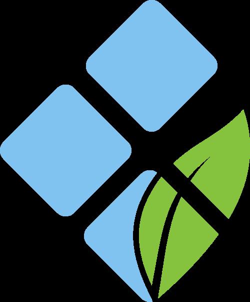 蓝色方块绿色叶子矢量logo图标矢量logo