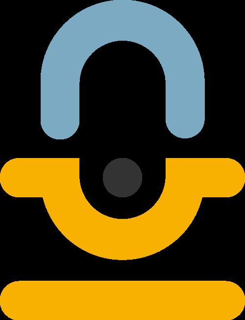 黄色蓝色录音机矢量logo图标