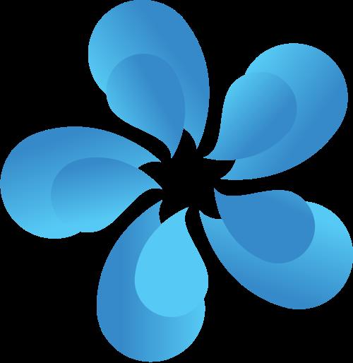 蓝色花朵矢量logo图标