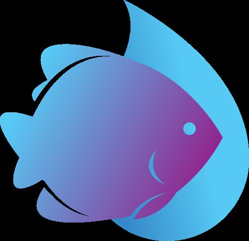 蓝色鱼矢量logo图标