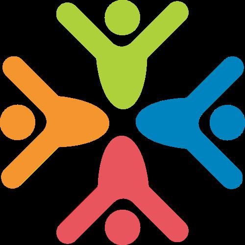彩色小人社团矢量logo图标
