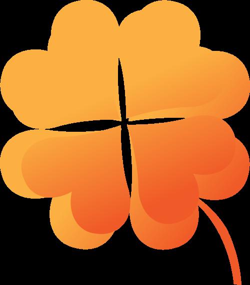 橙色四叶草矢量logo图标