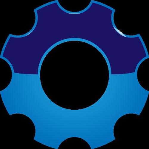 蓝色齿轮机械矢量logo图标矢量logo