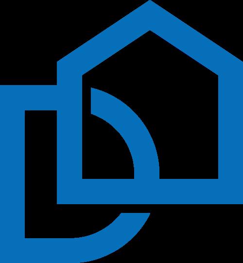 蓝色字母D房子矢量logo图标