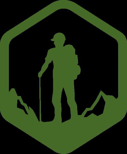 绿色人物六边形登山矢量logo图标矢量logo