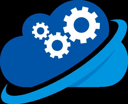 蓝色云朵齿轮矢量logo图标矢量logo