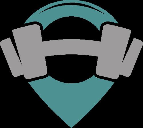 绿色灰色哑铃矢量logo图标