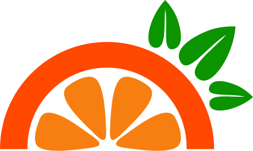 橙色橙子叶子矢量logo图标