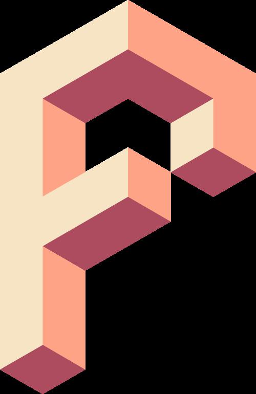 淡橙色字母F矢量logo图标
