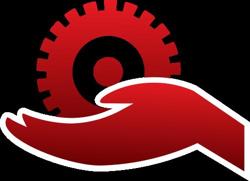 红色手扶齿轮矢量logo图标