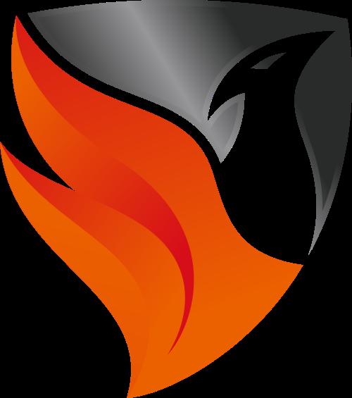 黑色橙色鸟火焰盾牌矢量logo图标矢量logo