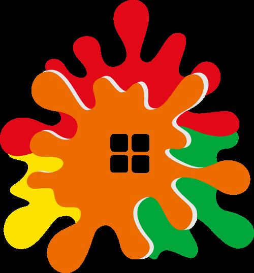彩色房子艺术矢量logo图标矢量logo