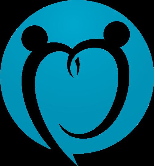 蓝色圆形心形人物矢量logo图标
