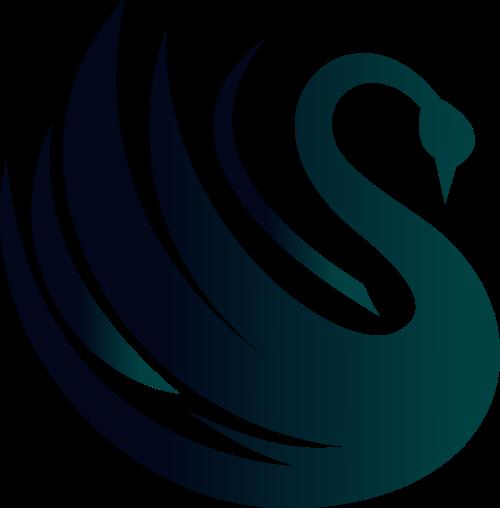 墨绿色天鹅矢量logo图标