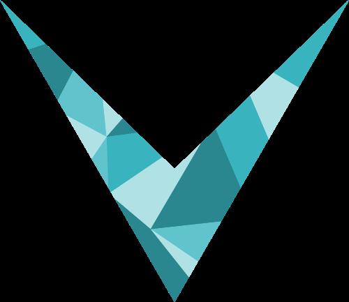 蓝色彩色字母V矢量logo图标