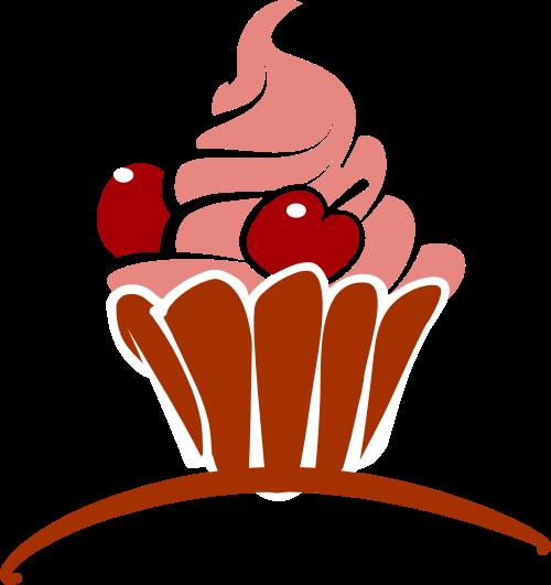 粉色蛋糕矢量logo图标