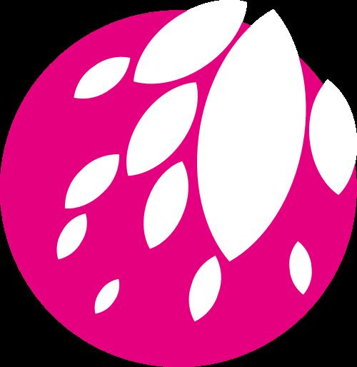 粉色花朵圆形矢量logo图标