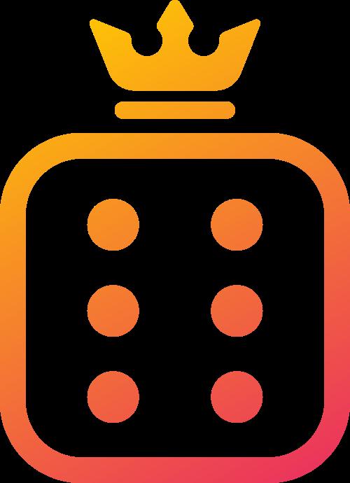 橙色骰子皇冠矢量logo图标
