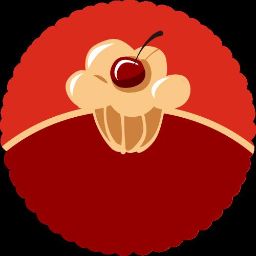 红色圆形蛋糕矢量logo图标