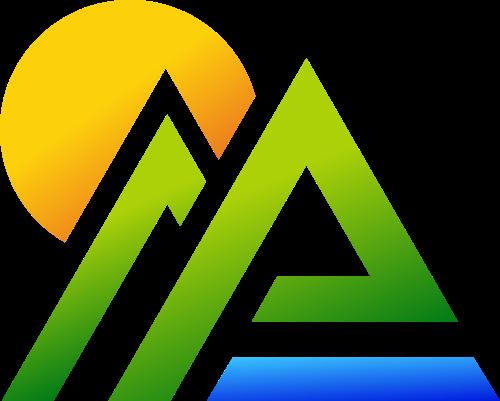 彩色山脉太阳矢量logo图标