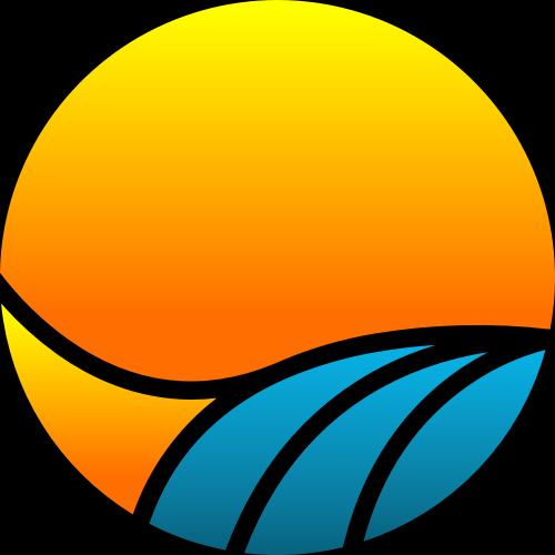 黄色蓝色太阳波浪矢量logo图标