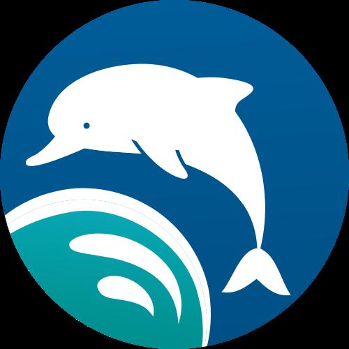 蓝色绿色海豚圆形矢量logo图标
