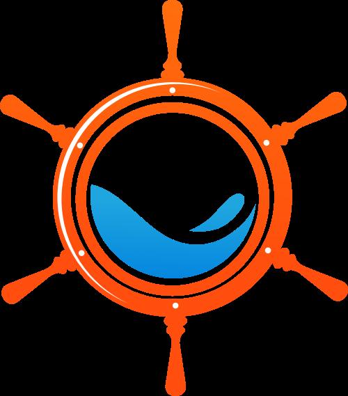 红色蓝色舵矢量logo图标