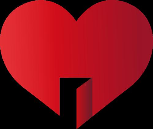 红色心形门状矢量logo图标