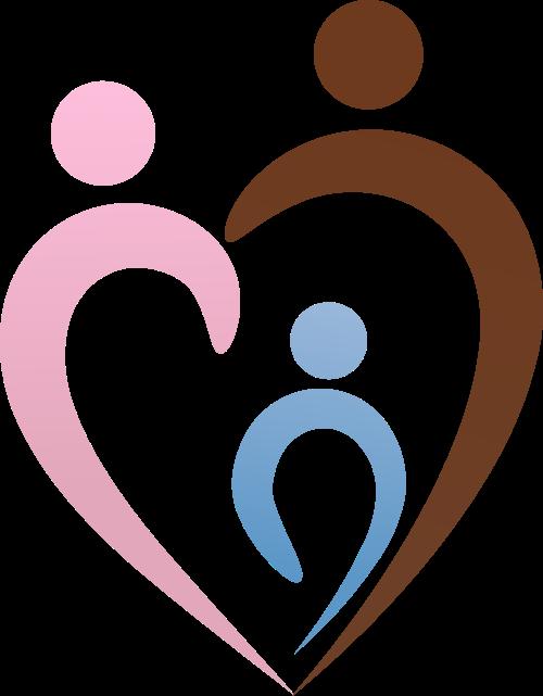 彩色人物心形矢量logo图标