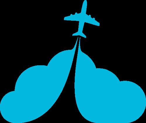 蓝色云朵飞机矢量logo图标