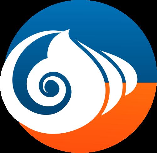 蓝色橙色圆形海鲜矢量logo图标