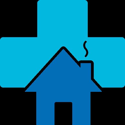 蓝色十字房子矢量logo图标